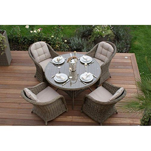 dorset rattan garden furniture 4 seat dining set with round chairs