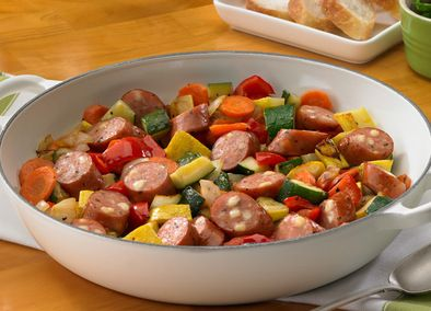 Bountiful Garden Sausage Bake  I would probably use either a chicken sausage or something else lower in fat and organic