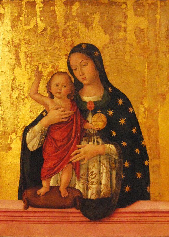 Antoniazzo Romano (born Antonio di Benedetto Aquilo degli Aquili, ca.1430 - deceased April 17, 1508, in Rome): Madonna and Child (1486, (650×909))