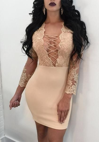 Golden Patchwork Floral Embroidery Grenadine Lace-up Deep V-neck Bodycon  Party Mini Dress 1c09a1219