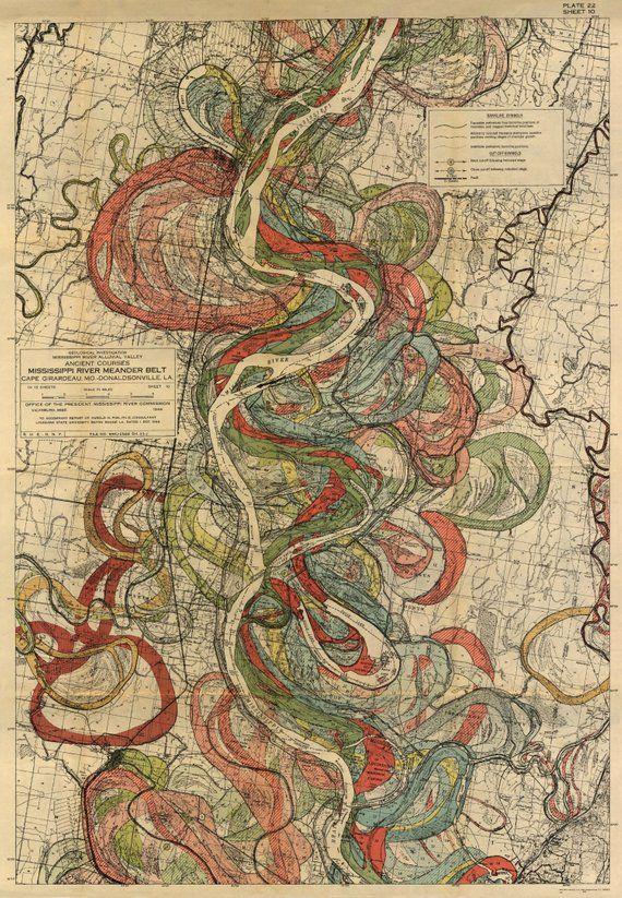 Mississippi River Map, Louisiana River, Harold Fisk Map, Page 22 Sheet 10, Mississippi River Meander Belt,Mississippi Mississippi, Fisk Maps
