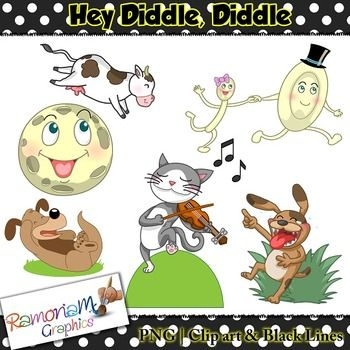 Hey Diddle, Diddle Clip art - a total of 24 images in color, black outline and black and white. Each image is PNG and 300dp Commercial use ok.