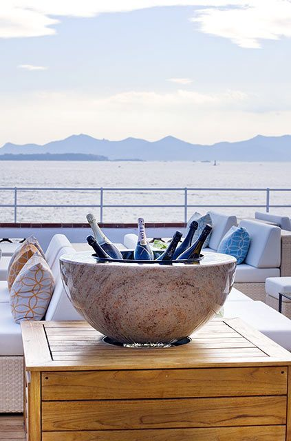 Stone champagne bucket for the glamorous Hotel du Cap-Eden-Roc for its champagne lounge overlooking the Riviera