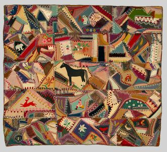 Crazy Quilt with central horse motif, 1871 Tennesse