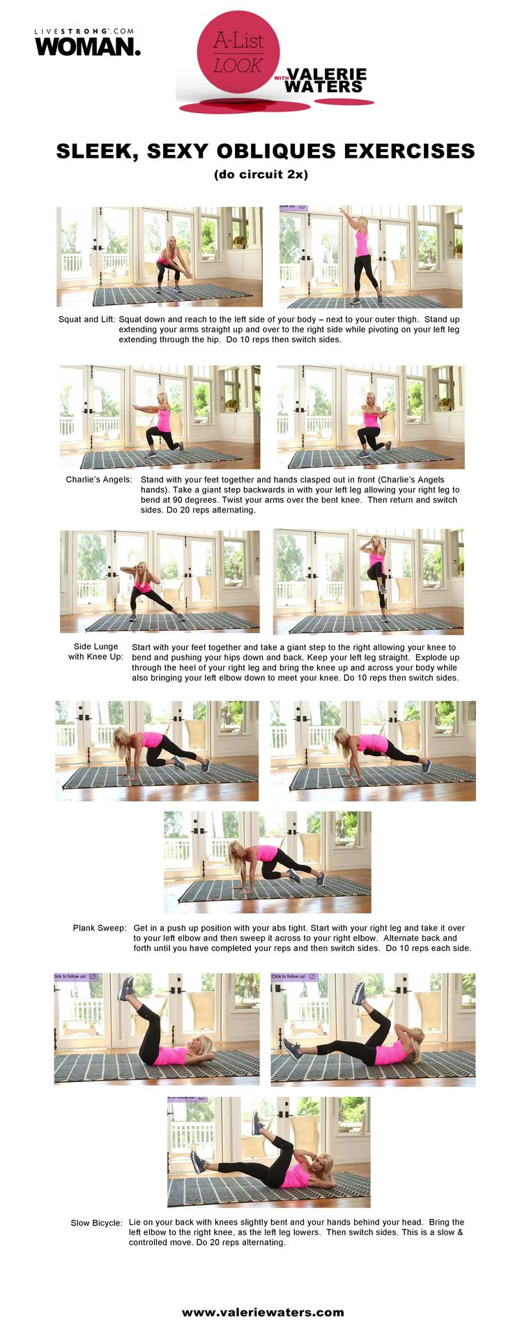 Sleek, Sexy Obliques Exercises @LIVESTRONG.COM| A-List Look With Valerie Waters printable workout sheets.
