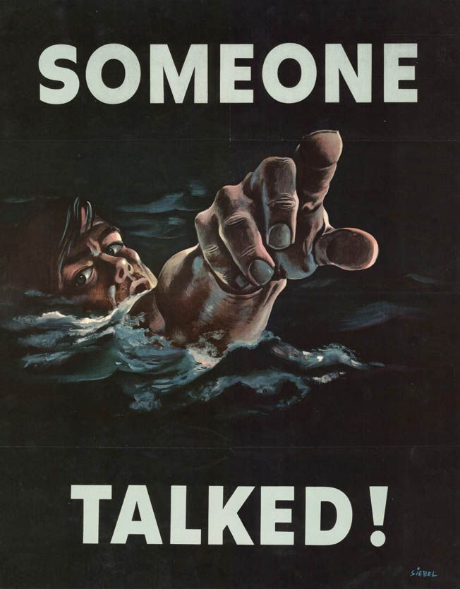 """As the war progressed, so did concerns about national security. Accordingly, more """"careless talk""""-type posters began to be circulated to warn citizens that the welfare and safety of their soldiers could be compromised from loose comments, even if they were well-intentioned."""