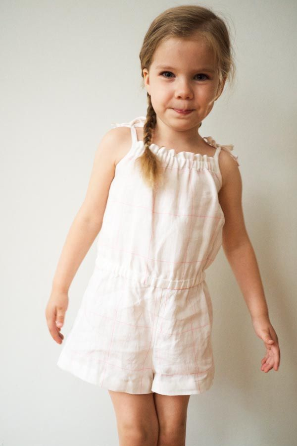 Summer Romper in Girls' Sizes 2 - 11, Uses 3/4 - 1 yd fabric, Free Download and Tutorial, Purl Soho