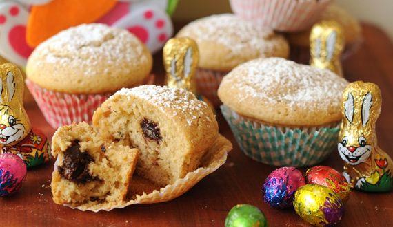 Muffin de Pascua con huevitos de chocolate