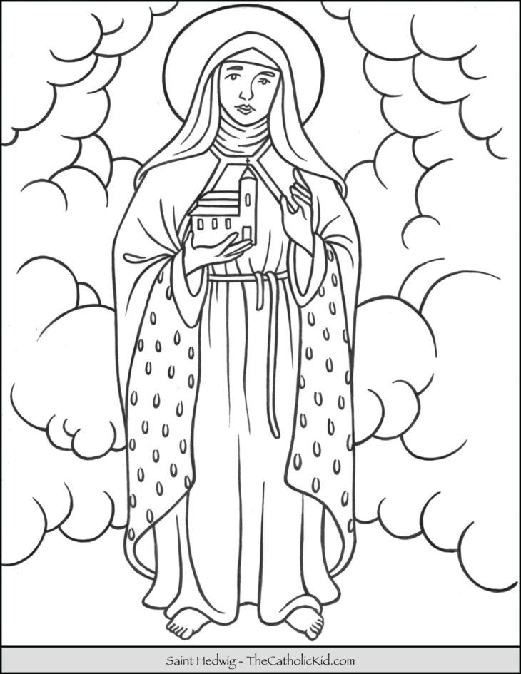 Saint Hedwig Coloring Page Thecatholickid Com Coloring Pages
