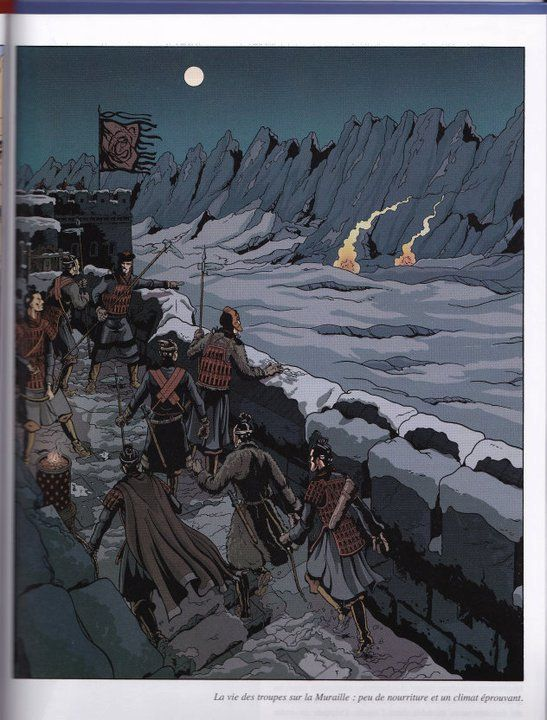 Life of troops on the Great Wall was hard  From Les Voyages d'Alix, Alix en Chine, by Jacques Martin, illus. Erwin Drèze