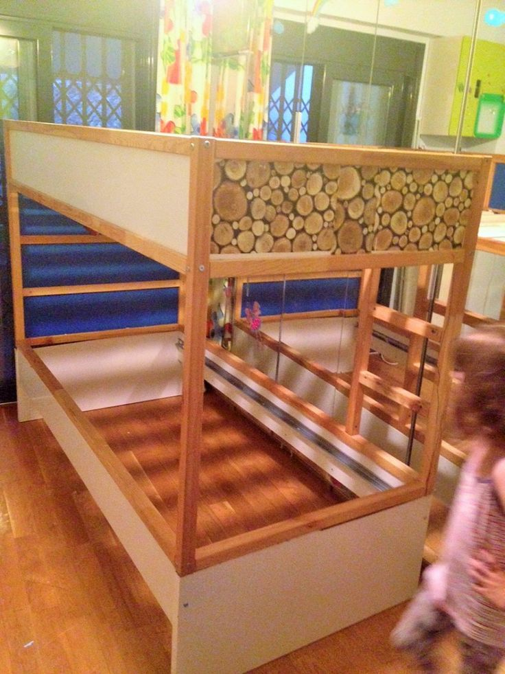 I wanted something creative for the kids. So I combined an old BREKKE bed with the KURA loft bed to create a KURA Puppet Theatre bed.