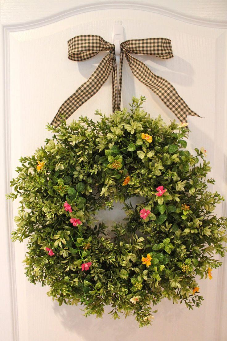 Boxwood wreath summer wreath and door wreath on pinterest