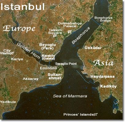 Istanbul From Space with Place-Names....  Plan at least 3 days in Istanbul — so much to see & do (even with kids), lots of good hotels, hostels, apartments/flats, restaurants, bazaars & shops, even beaches. Here are the best tours & itineraries...  You can see Istanbul's top sights in a rush on an overnight stay, but you'll need at least 2 days to do them justice, and 3 or 4 days to really get a sense of the city.