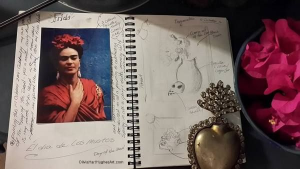 Sketchbook pages. Inspired by Frida Khalo, the Mexican day of the dead and my neighbours bougainvillea bush.