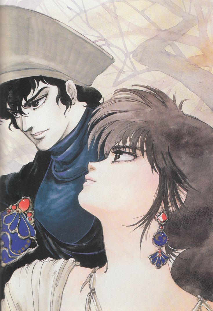 "Illustration from the ""Voice of the Stars, Dreams of the Moon"" artbook by manga artist Mutsumi Inomata, Windaria series"
