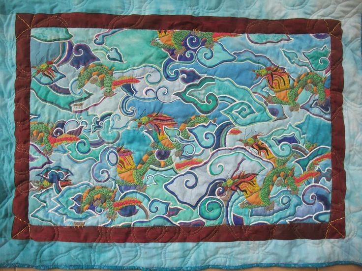Michael's 'Dragons in the Clouds,' quilted and beaded by moi