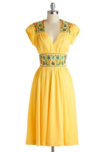 The Sky Sewn Bright Dress - Long, Knit, Yellow, Multi, Embroidery, Casual, Boho, A-line, Cap Sleeves, Best