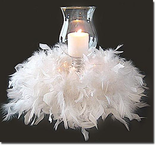 Easy to create, simply placing a feathered boa to create the base. Great candle centerpiece idea.