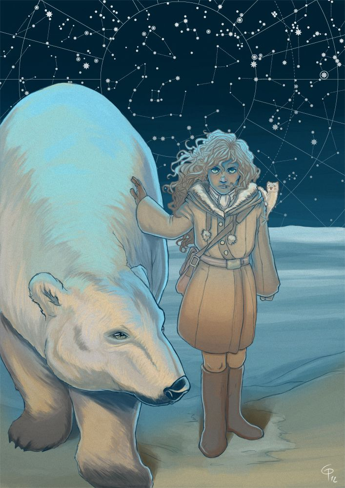 "Lyra Silvertongue and Iorek Byrnison from the ""Northern Lights"", by Philip Pullman - art by giopota on Tumblr."