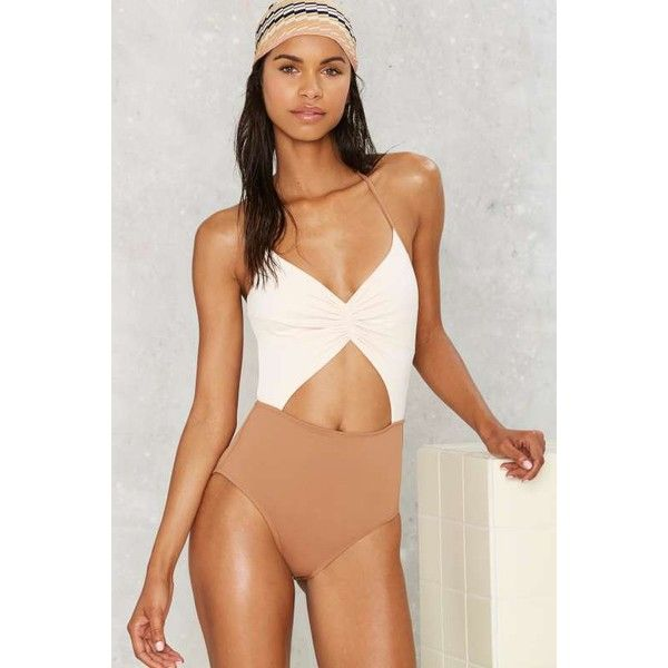 KORE Swim Flora Cutout Swimsuit (£120) ❤ liked on Polyvore featuring swimwear, one-piece swimsuits, brown, cut out one piece swimsuit, shirred one piece swimsuit, open back one piece swimsuit, ruched one piece swimsuit and cut-out bathing suits