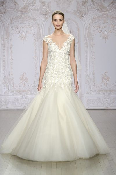 Embroidered Tulle Gown With Illusion Neckline Please Make Your Appointment At JJ Kelly Bridal Today