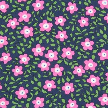 Print Javanaise Viscose Fabric Pink Green 150cm