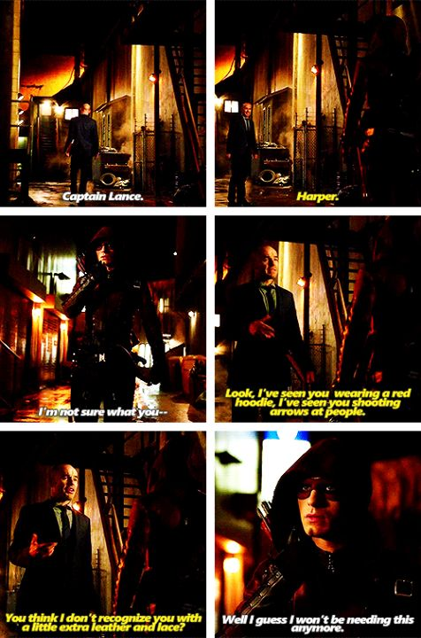 Arrow - Roy & Quentin #3.12 #Season3 I don't know why but I thought this scene was funny. But how in the hell did Thea and Quentin figure out what Roy was so quickly, but it will take them years to figure out that Oliver is the Arrow?! I don't get this shez.