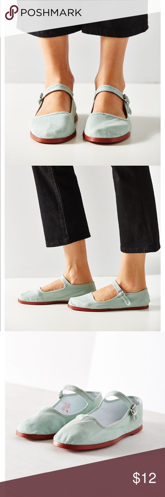 Urban Outfitters - Cotton Mary Jane - Teal. NWT NWT.  Basic Mary Jane. Color is Denim/Teal Urban Outfitters Shoes Flats & Loafers