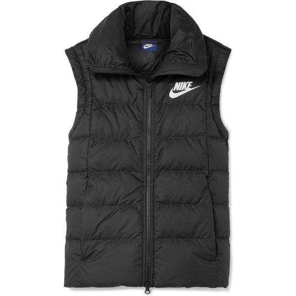 Nike Quilted shell down vest ($100) ❤ liked on Polyvore featuring outerwear, vests, black, lightweight quilted vest, lightweight vest, nike vest, zipper vest and feather vest