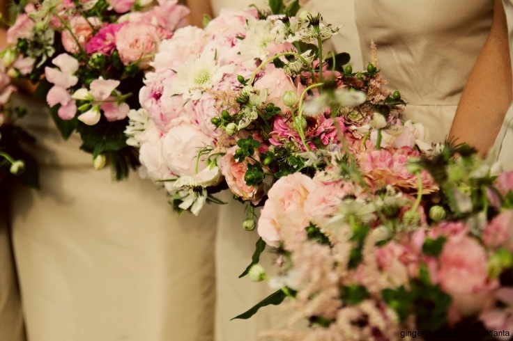 My bridal bouquest of pink peionies, white scabiosa, bridesmaid bouquets with my grandmother's favorite flower, zinnias! garden roses, pink, cream, green, July 4, summer wedding, Pavilions at Angus Barn Raleigh NC. Atlanta Florist.