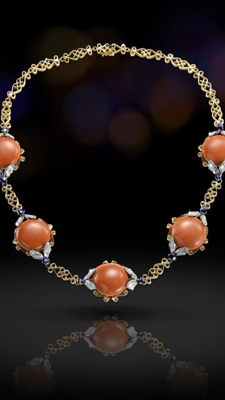 "SCALA Gioielli - Fine Italian Jewelry -  Necklace in 18k yellow gold with Diamonds, Sapphires and ""cerasuolo"" Coral."