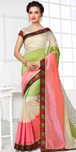 Lovely Green And Peach Pure Silk Saree With Blouse.