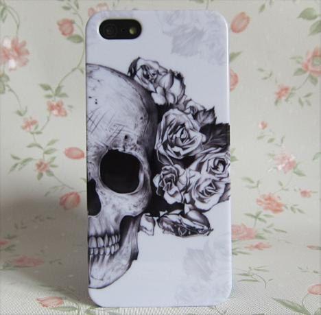 iPhone 5 Case/iPhone 4,4s Cover/Hard Plastic Case/Skull case/Skull iphone case/gift for christmas. $9.99, via Etsy.