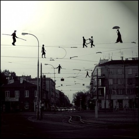 Surrealist: Mary Poppins, Dreams, Walks The Line, Street Art, Black White, Mornings Coff, Ropes, Photo, The Wire