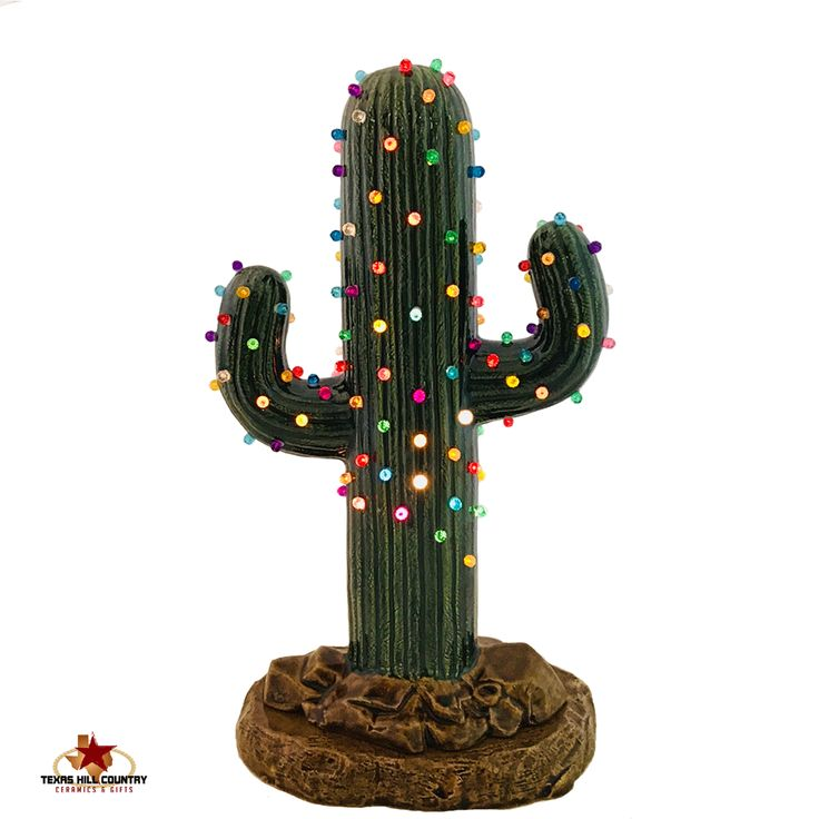 Saguaro Cactus Ceramic Christmas Tree 12 Inches Tall with Color Lights and Electric Base Desert Southwestern Feliz Navidad Holiday Decor - Made to Order - Texas Hill Country Ceramics