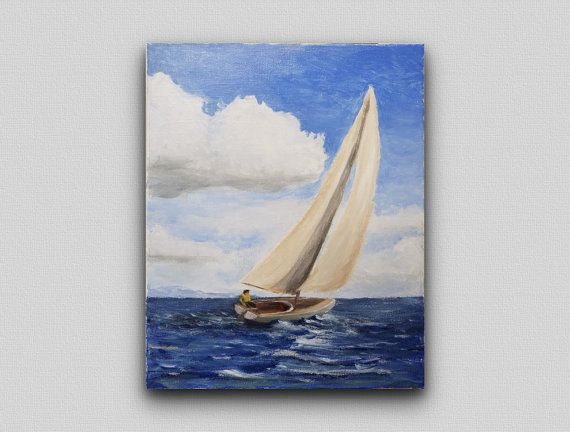 Title: Sailboat Study #5  Size: 16x20 inch acrylic on stretched canvas.  Rendered with Liquitex Heavybody acrylics using knife and brushes, and protected with a gloss varnish. Edges of the canvas are unpainted. This listing is for the original painting itself.  Due to the nature of this item, signature confirmation will be required on delivery.