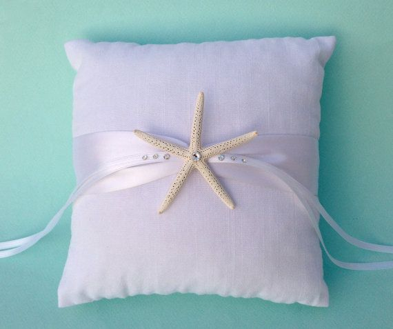 Beach Wedding White Linen Ring Bearer Pillow with Swarovski Crystal Starfish and White, Ivory, Aqua, Navy Blue, Coral or Island Blue Ribbon