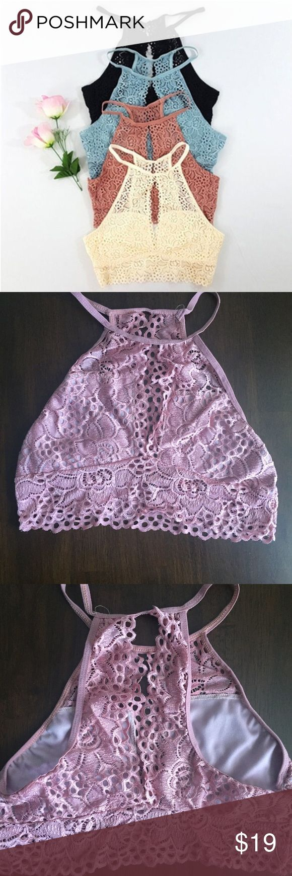 Pink Lace Bralette Crop Top Beautiful. Small amount of padding to decrease transparency. Intimates & Sleepwear Bras