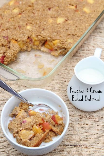 Delicious recipe for Peaches and Cream Baked Oatmeal including directions for a gluten free version! | 5DollarDinners.com