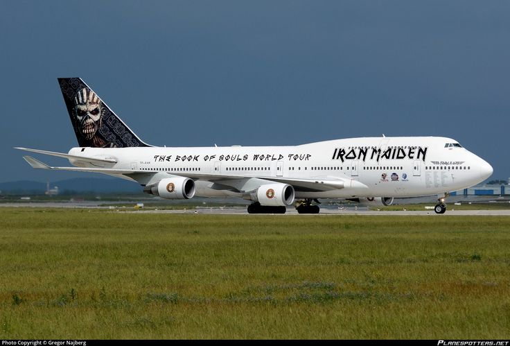 Air Atlanta Icelandic (IS) Boeing 747-428 TF-AAK aircraft, painted in ''Iron Maiden'' special colours  Feb. - Jun. 2016 with the sticker ''The Book of Souls World Tour by Iron Maiden'' on the airframe, from 19 Feb. - to 16 Jun. 2016, skating at Germany Berlin  Schonefeld International Airport. 30/05/2016.