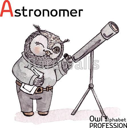 """""""Alphabet professions Owl Letter A - Astronomer Vector Watercolor."""" - Classroom decor posters and prints available at Barewalls.com"""
