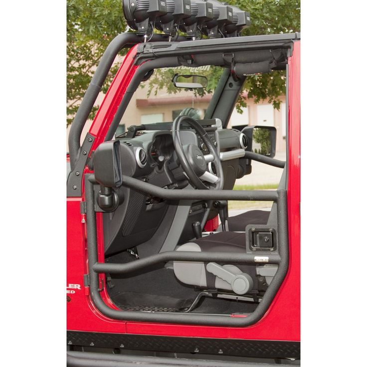 Black Tube Rear Half Doors for 2007 to 2014 Jeep Wrangler JK by Rugged Ridge