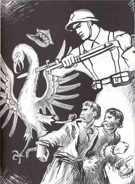 Soviet Propaganda Poster: Soviet propaganda poster depicting the Red Army killing the Polish eagle which had supposedly oppressed the Belarusian and Ukrainian peasants under Polish rule, 1939. (Wikimedia Commons)
