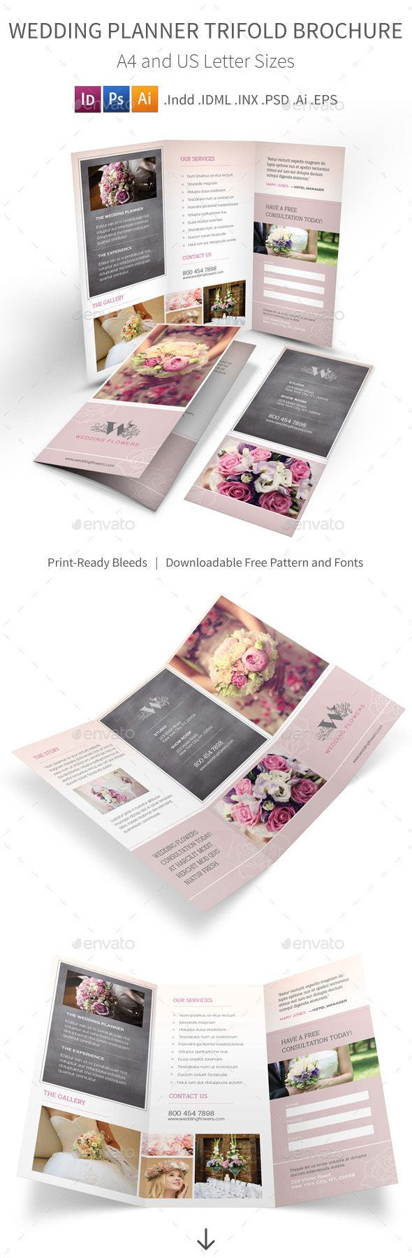 Wedding Planner Trifold Brochure  PSD Template • Download ➝ https://graphicriver.net/item/wedding-planner-trifold-brochure/17105373?ref=pxcr