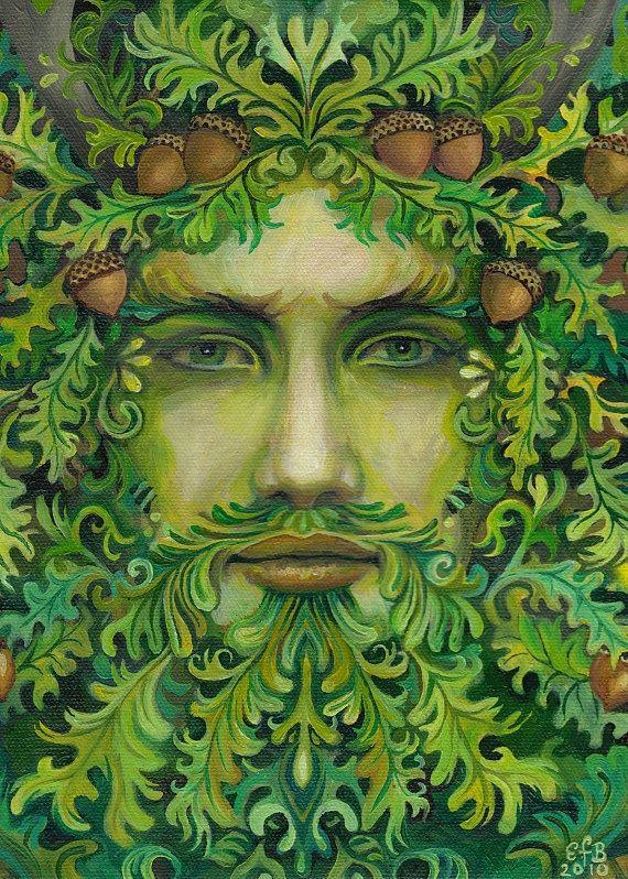 Solstice d'été de chêne roi ACEO Pagan autel Art par EmilyBalivet                                                                                                                                                      Plus