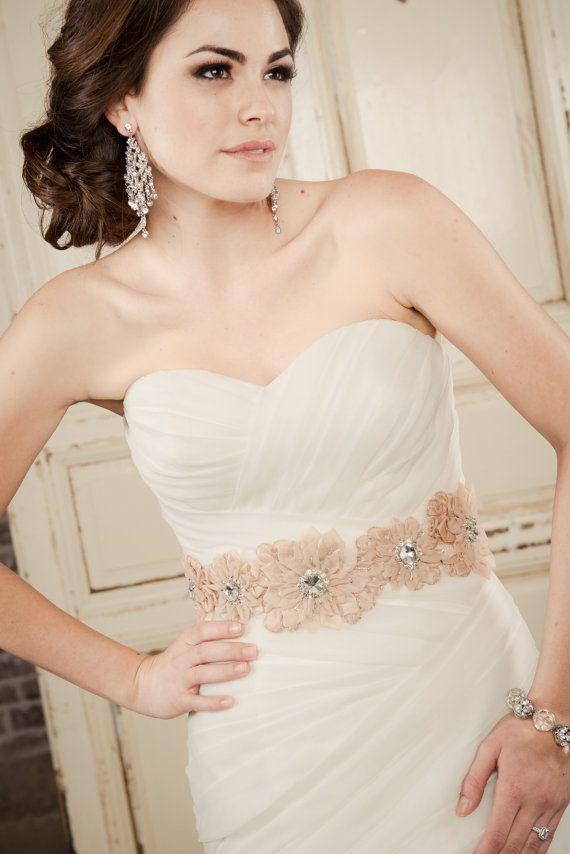 ELLA BELT Beaded Floral Belt Wedding Sash Rose Gold Vintage Bridal