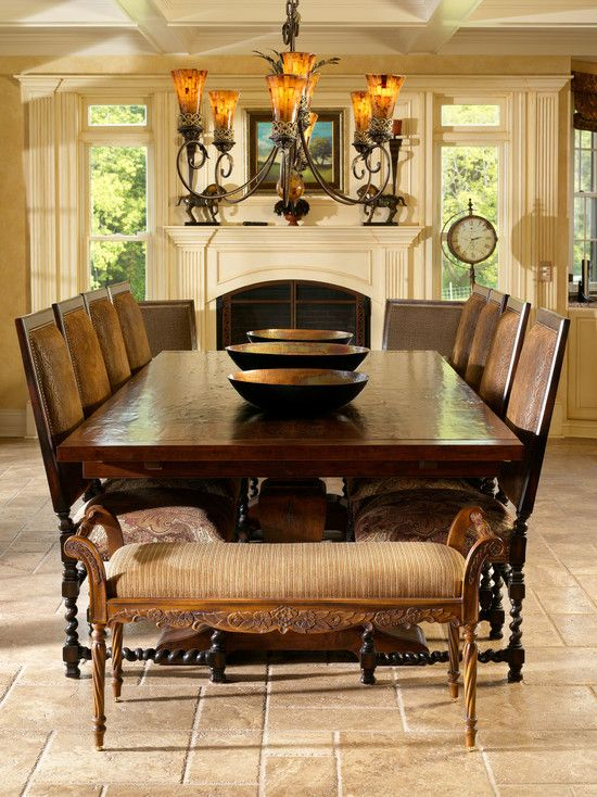 Drop Dead Gorgeous Tuscan Dining Rooms Design : Terrific Interior Room Ideas : Terrific Tuscan Dining Rooms Design With Alluring Dark Dining Table Feats Chairs Also Engaging Classic Pendant Lamp And Terrific Rustic Stone Flooring Ideas