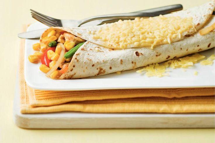 Kijk wat een lekker recept ik heb gevonden op Allerhande! Tortilla met kip en mais