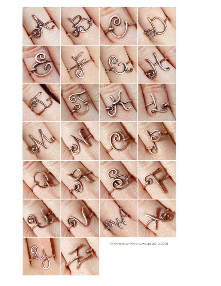 Oxidized. Copper. Letter. Initial. Ring. por Karismabykarajewelry, $20,00