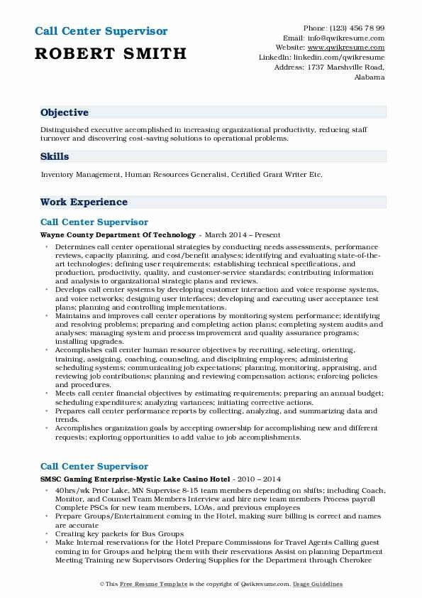 Call Center Manager Resume Beautiful Call Center Supervisor Resume Samples In 2020 Job Resume Samples Manager Resume Business Intelligence